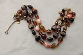 Vintage POURED GLASS & ART GLASS BEADS BRACELET~FANCY CLASP~KRAMER ?