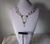 ART DECO INTAGLIO GLASS NECKLACE SET~GREEK ROMAN GODDESS~CUPID ARROW~ICY BEADS