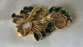 AUTHENTIC WWII ERA HUGE SCRIPT E EISENBERG ORIGINAL PIN~GREEN STONES~GOLD METAL