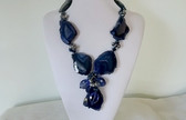 BIG HUGE CHUNKY COBALT BLUE DRUZY SLAB GEMSTONE NECKLACE EARRINGS SET~AB CRYSTAL BEADS