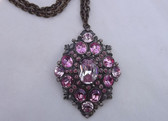 Vintage CZECH PINK Rhinestones PENDANT Necklace Embossed Chain