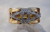 McCLELLAND BARCLAY Deco YellowTopaz GLASS & Rhinestones HINGED Bangle Bracelet