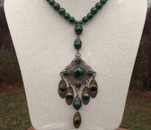 OLD Jade Beads Necklace & Huge filigree Brass Pendant Long DANGLE DROPS