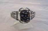 RARE Whiting Davis HINGED Bangle Bracelet~Hematite Glass BLACK Diamond Points