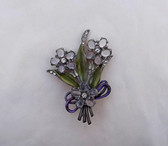 Art Deco POT METAL FLOWER SPRAY Pin~GLASS CABS~Rhinestones ~Enameled LEAVES