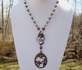 CZECH Art DECO Lavalier Necklace~Enamel PANSY~Glass FLOWER~Rose DOVE Glass BEADS