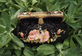 Antique FRANCE Beauvais Embroidered Purse Guilloche Enamel Beaded Frame Clasp