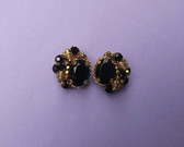Pat Pend Vtg Designer Earrings~Gold Coils~Hand Wired Black Glass Beads Stone
