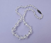 Vintage ROCK QUARTZ CRYSTAL BEADS NECKLACE Sterling Marcasite Clasp~GEM QUALITY