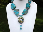 JULIANA AB CAMEO PENDANT, TURQUOISE CRYSTAL BEADS & HOWLITE SLABS NECKLACE