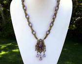 Rare Vintage Max Neiger Ornate Czech Glass & Enamel Necklace~Purple Glass Rings