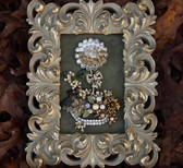 VINTAGE RHINESTONE FRAMED JEWELRY ART~HOLIDAY FLOWER PLANTER~ellen original