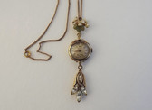 Vintage 1940's Retro Gold Filled Ladies Wrist Watch Lavalier Necklace Pendant