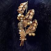 HUGE Miriam Haskell Pin  BELL Flowers Glass Pearls Bead Drops Wedding