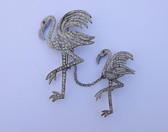 RARE 1930's CHANEL or REINAD for BOUCHER Rhinestone Flamingos Chatelaine Pin~Silver Pot Metal