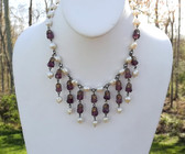 Early MIRIAM HASKELL FRINGE Necklace PURPLE GLASS & PEARL BEADS FILIGREE CAPS