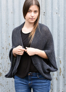 Deep blue grey merino wool shrug