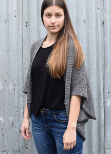 Grey marl merino wool shrug