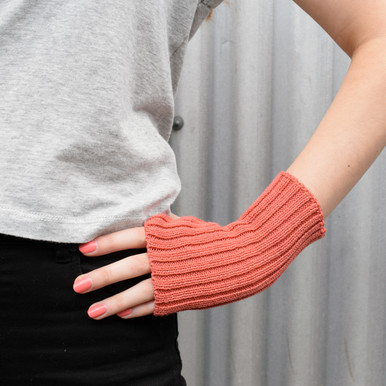 Coral Wool Knitted Wrist Warmers