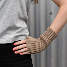 Tan Wool Wrist Warmers