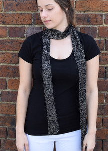 Black merino and really silver lurex skinny scarf