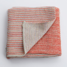 Merino knitted baby blanket - coral and lemon