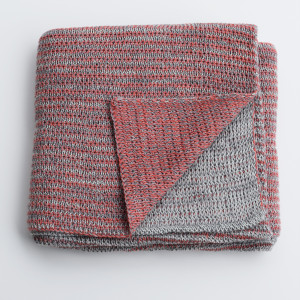 Merino knitted baby blanket - plum and grey