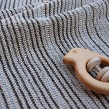 Merino and Lurex baby blanket - stone