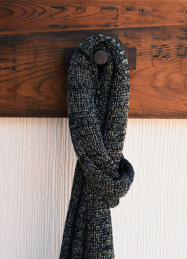 Black wool and lurex wrap