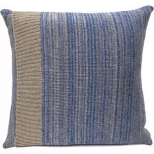 Blue Knitted Wool Cushion