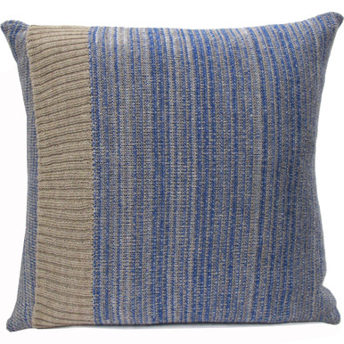 Blue Knitted Wool Cushion