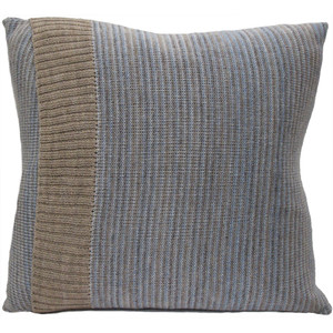 Knitted Wool Cushion - Duck Egg Blue Stripe