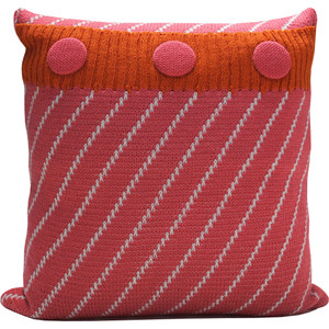 Knitted Wool Cushion - Pink and Orange