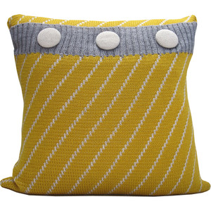Knitted Wool Cushion - Mustard and Grey