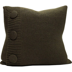 Knitted Wool Cushion - Olive