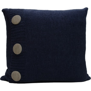 Knitted Wool Cushion - Denim
