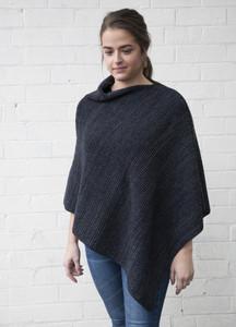 Blue Grey Wool Poncho