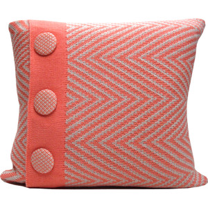 Knitted Wool Cushion - Coral