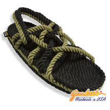 Signature Neptune Black & Olive Rope Sandals