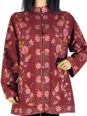 Chocolate Silk Hand Embroidered Evening Wear Jacket L