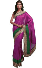 Purple Designer Women Sari Bhagalpuri Silk Clothing Stylish Fancy Saree Dress