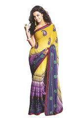Crepe Multicolor Party Dress Cocktail Paisley Embroidered Fashion Sari Saree