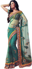 Embroidered Teal Trendy Saree Party Designer Net Elegant Wedding Sari Dress