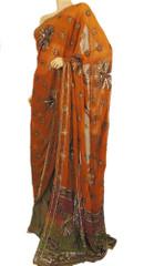 Bollywood Party Sari Dress Beautiful Indian Trendy Designer Rust Orange Saree
