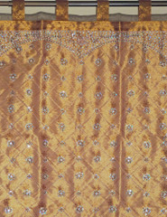 Beaded Indian Window Curtain Chocolate Embellished Ethnic Door Decor Panel