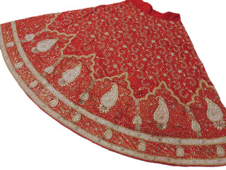 Ladies Bohemian Designer Skirt Red Exclusive Party Fashion Handmade Zardozi