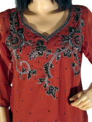 Russet Trendy Designer Sequin Embroidered Tunic Kurti M