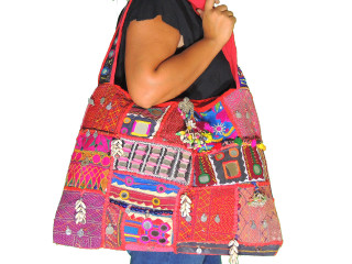 "Ethnic Handmade Authentic Banjara Women""s Shoulder Weekender Large Bag"