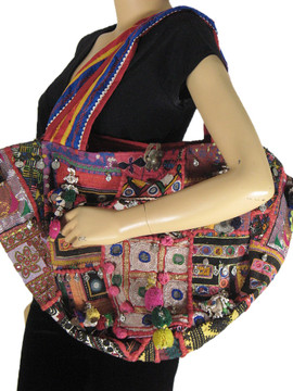 Handmade Women Shoulder Bag Vintage Kutch Embroidered Big Multicolor Retro