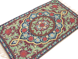 Handcrafted Floral Kashmir Rug Mughal Crewel Stitch Wool Decorative Tapestry